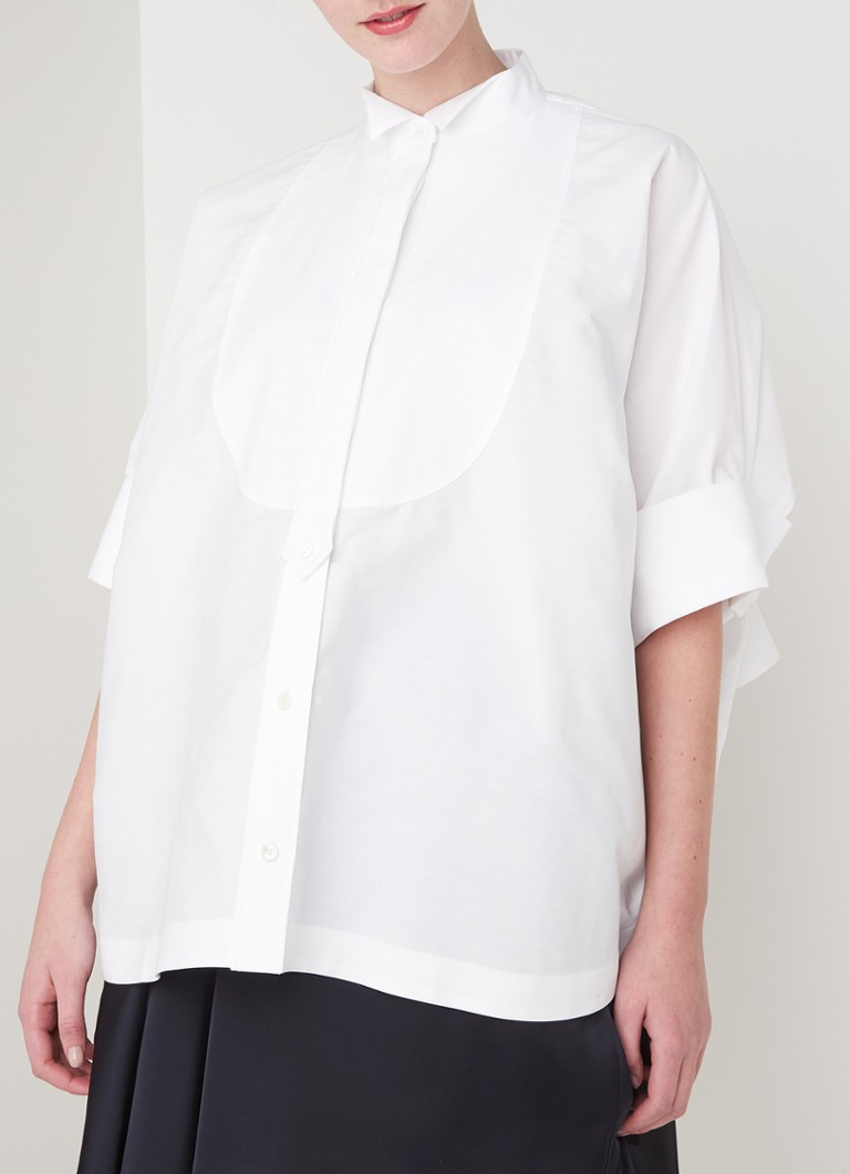 Sacai - Oversized blouse met contrast boord - Wit