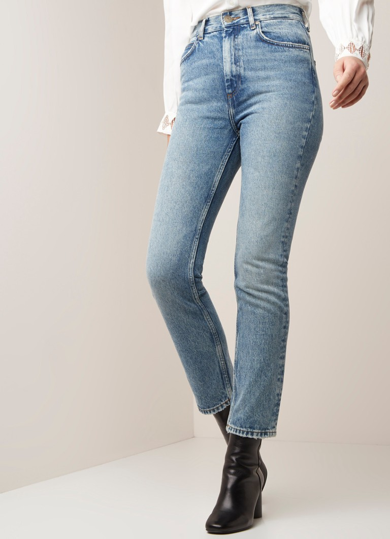 Sandro - High waist slim fit cropped jeans met faded look - Indigo