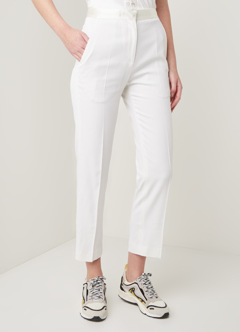 Sandro - High waist straight fit pantalon met persplooi - Ivoor