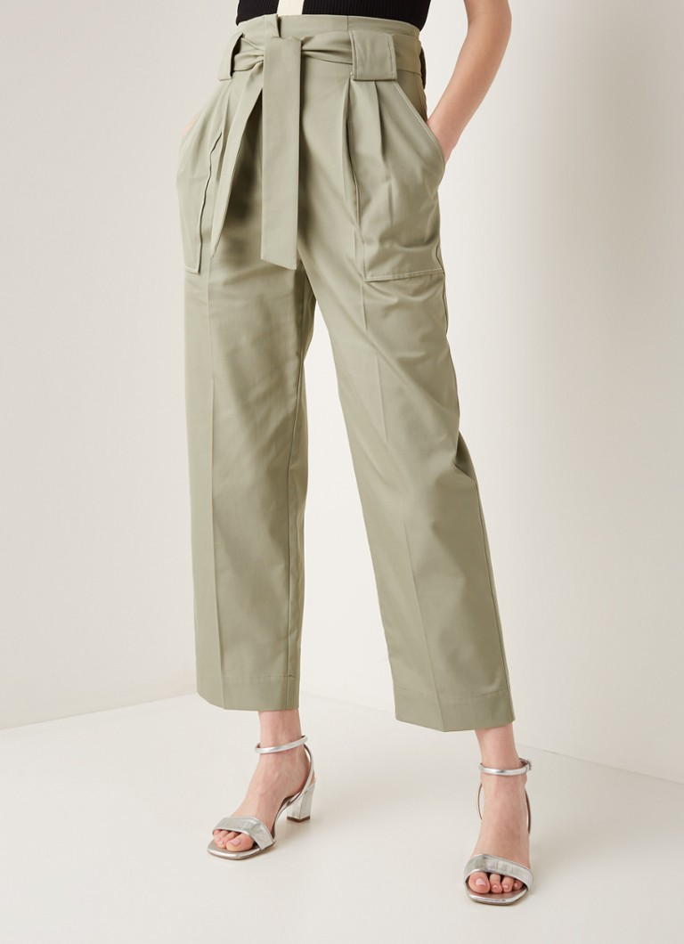 Sandro - High waist straight fit pantalon met strikceintuur - Khaki