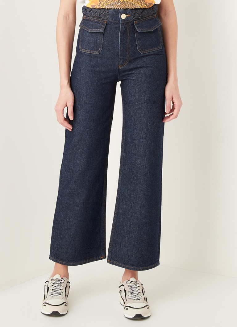 Sandro - High waist wide fit cropped jeans met donkere wassing - Indigo