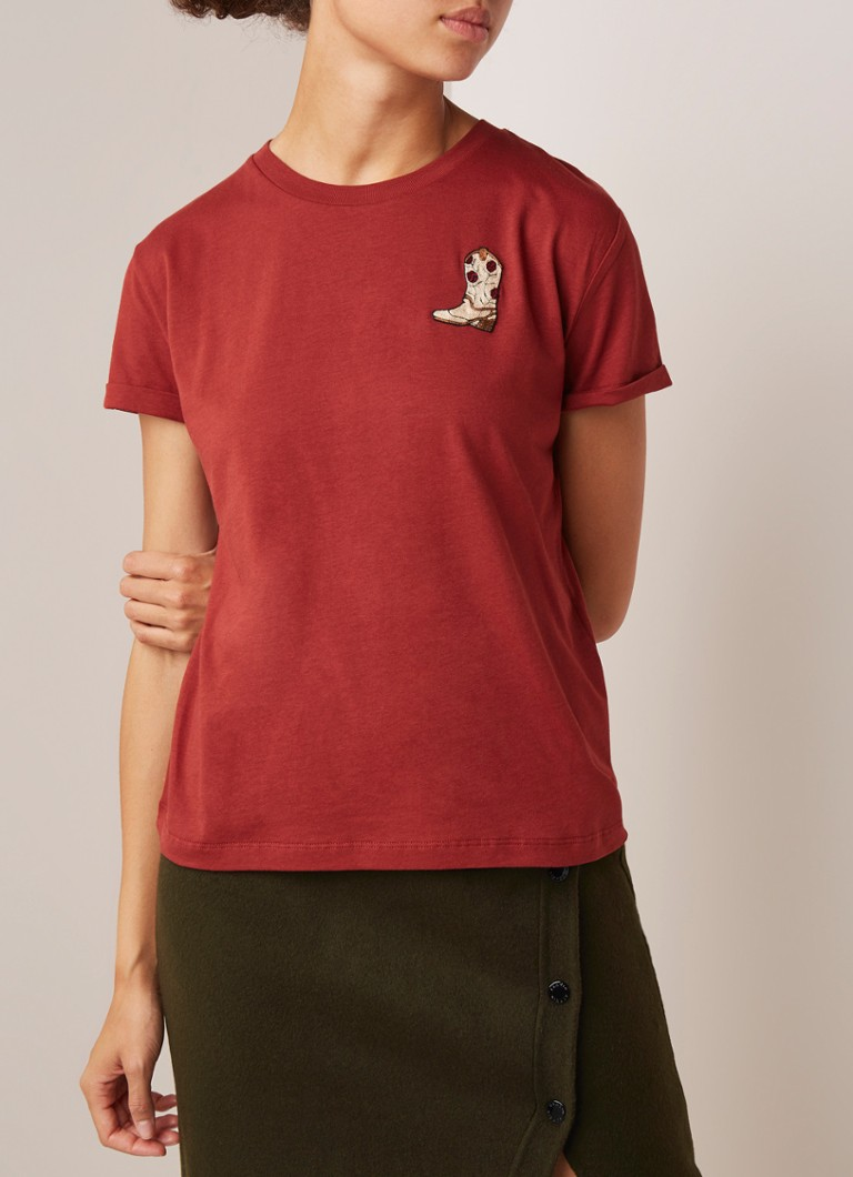 Sandro - T-shirt met applicatie - Bordeaux