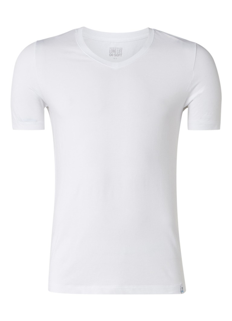 Schiesser - Long Life Soft T-shirt met V-hals - Wit