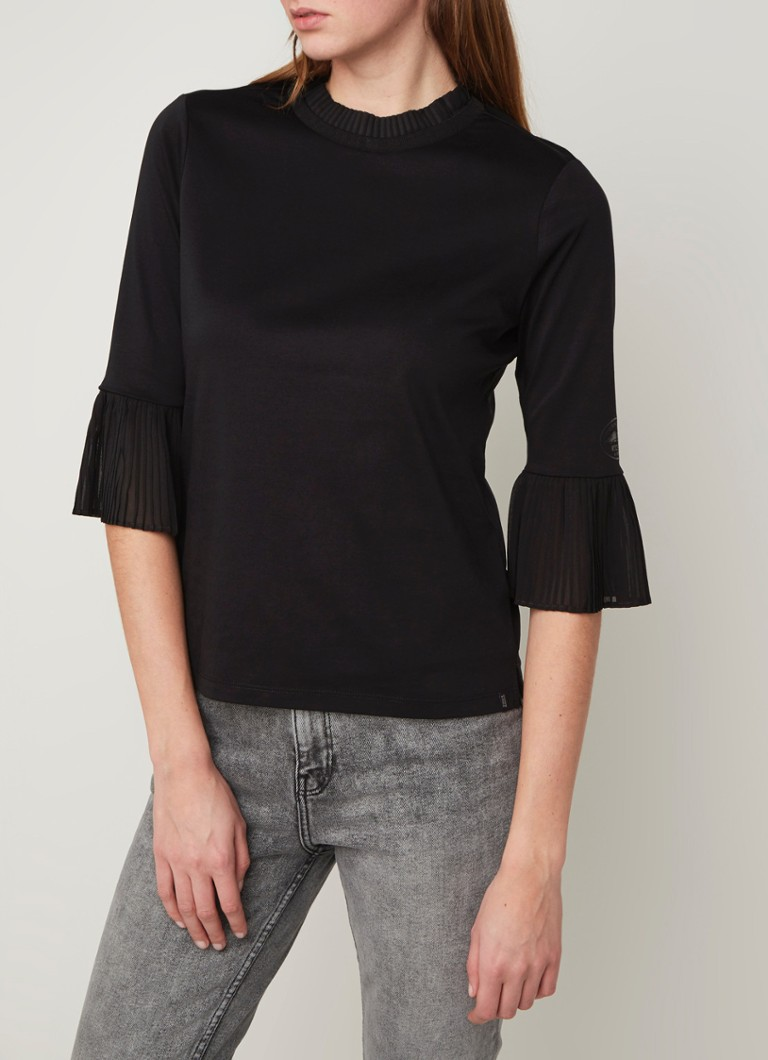 Scotch & Soda - Andy & Pablo top met plissé details  - Zwart