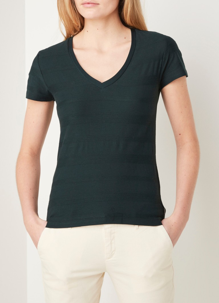 Scotch & Soda - Basic T-shirt met V-hals - Donkergroen