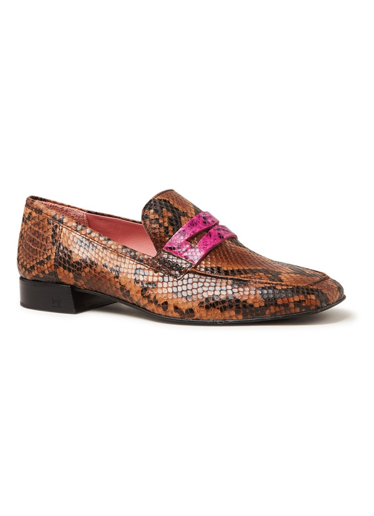 Scotch & Soda - Blythe loafer van leer met slangenprint - Donkerbruin
