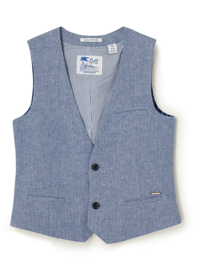 Scotch & Soda - Gilet in linnenblend  - Blauw