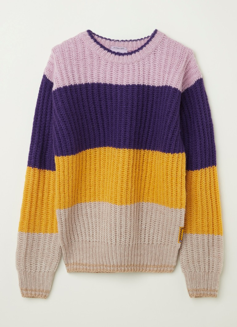Scotch & Soda - Grofgebreide trui met colourblocking - Paars