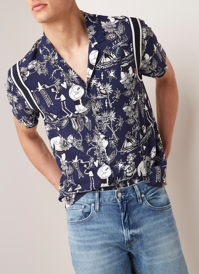 Scotch & Soda - Hawaiian fit overhemd met dessin - Middenblauw