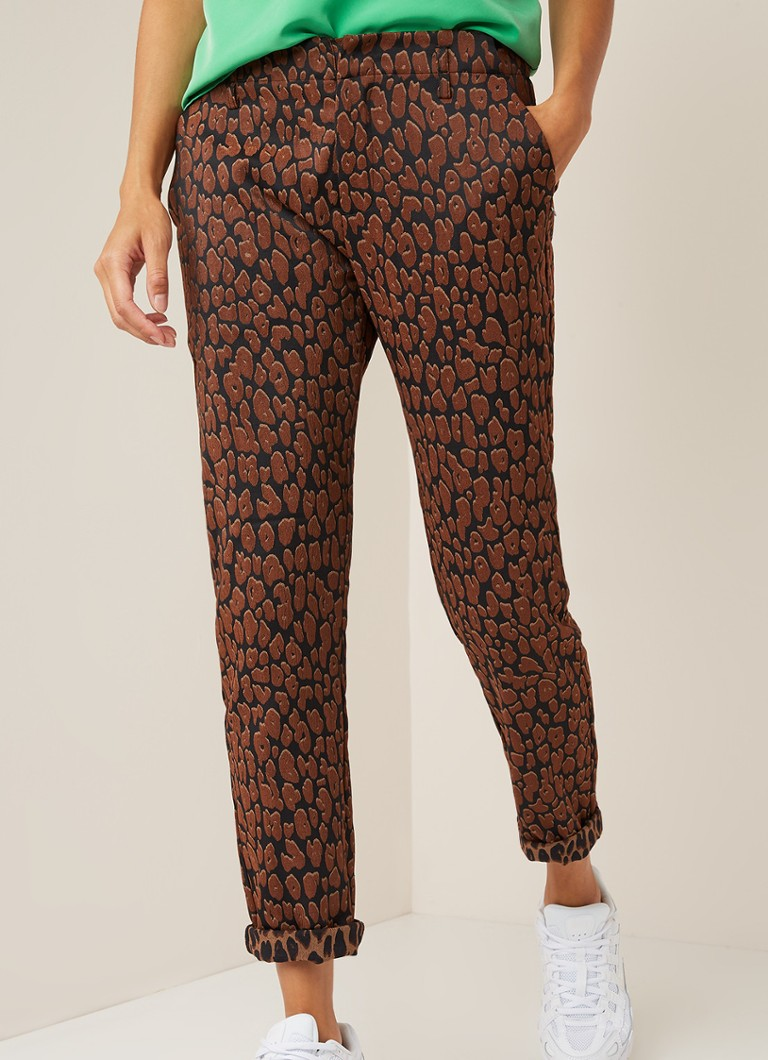 Scotch & Soda - High waist slim fit cropped pantalon met luipaarddessin - Bruin