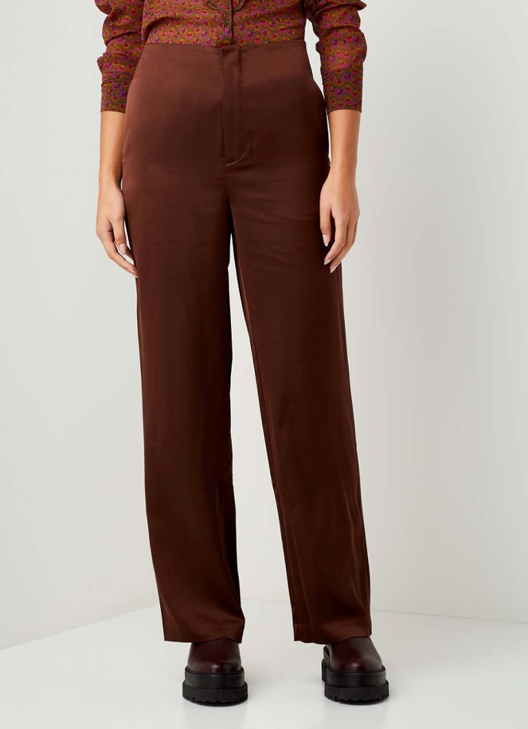 Scotch & Soda - High waist straight fit pantalon van satijn - Donkerbruin