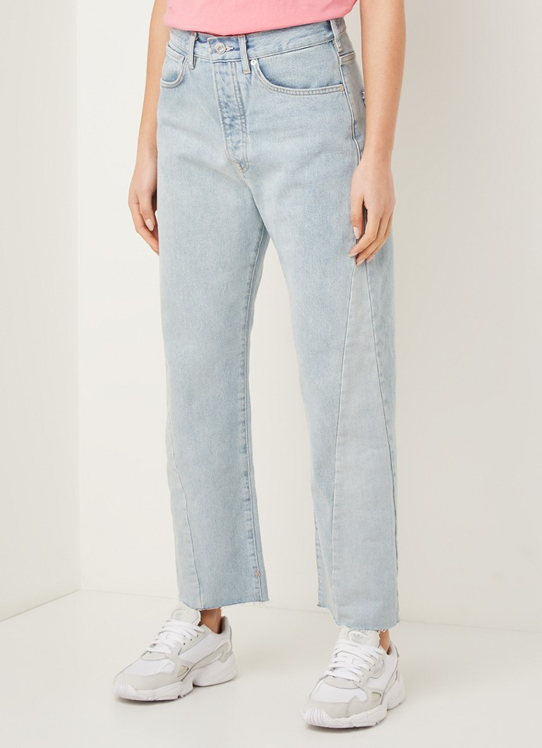 Scotch & Soda - High waist tapered fit cropped jeans met gerafelde zoom - Indigo