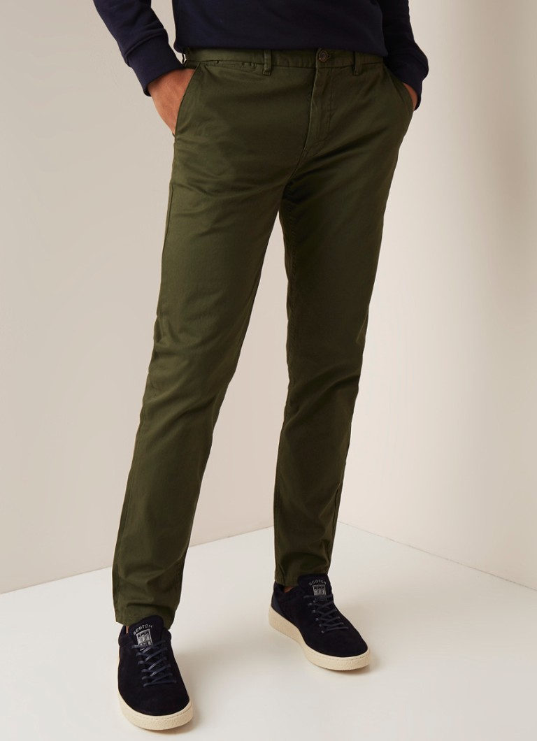 Scotch & Soda - Mott classic slim fit chino met stretch - Legergroen
