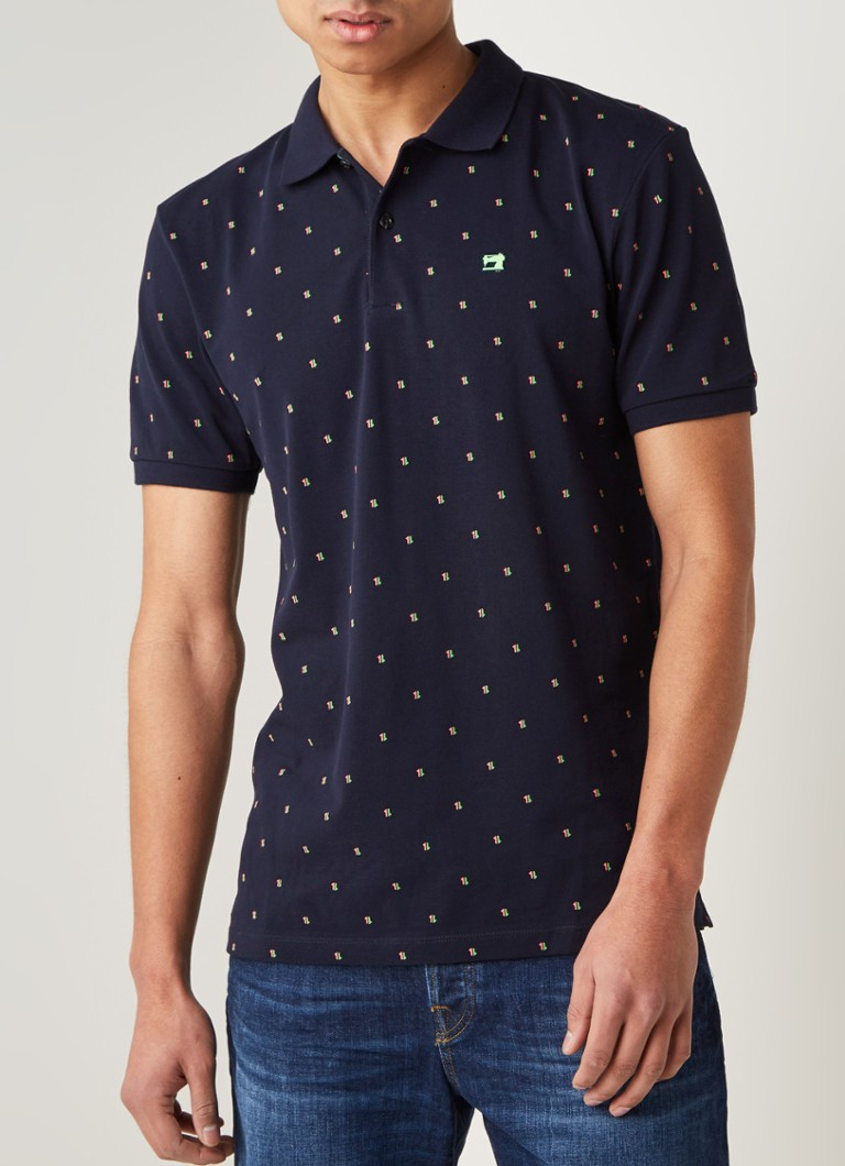 Scotch & Soda - Regular fit polo met print  - Donkerblauw