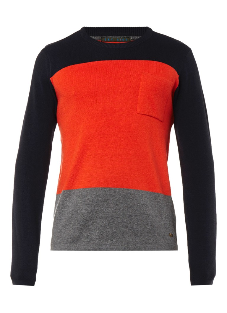 Scotch&Soda Scotch&Soda Sky High pullover met color blocking dessin