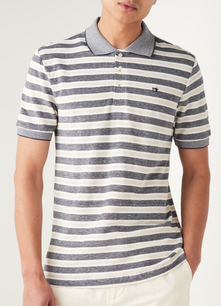 Scotch & Soda - Slim fit polo in linnenblend met streepprint - Beige