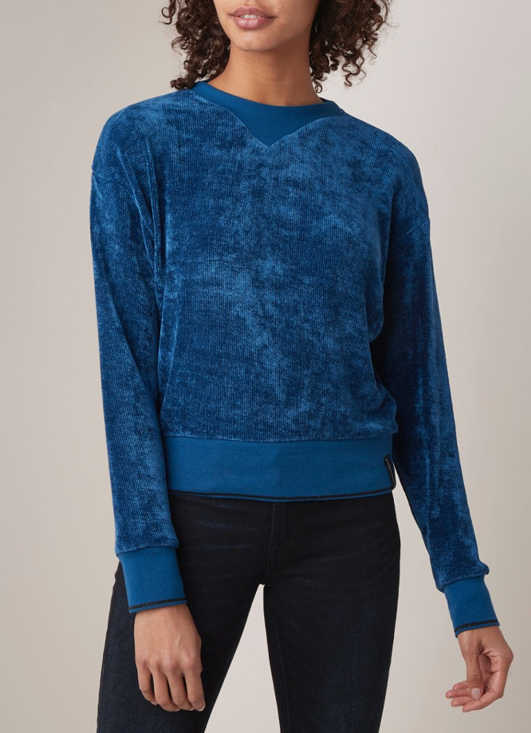 Scotch & Soda - Sweater van chenille en merkapplicatie - Middenblauw