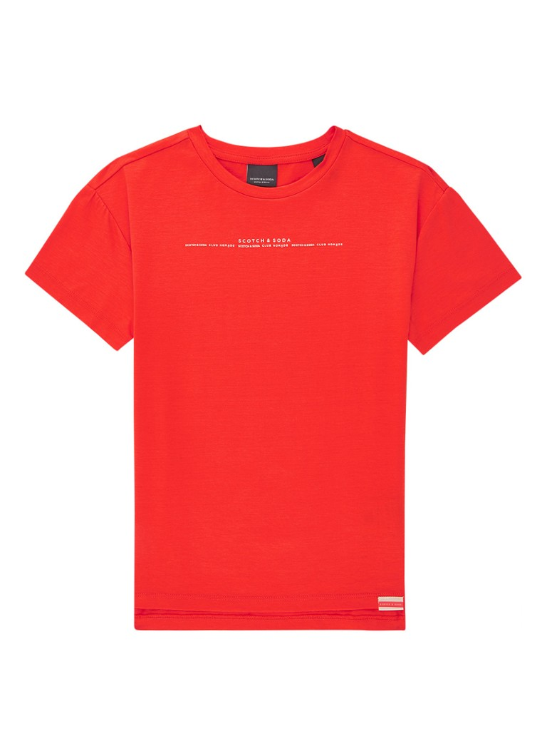 Scotch & Soda - T-shirt met logoprint - Rood