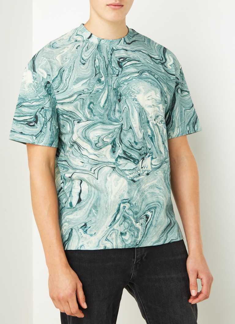 Scotch & Soda - T-shirt met marble print  - Groen