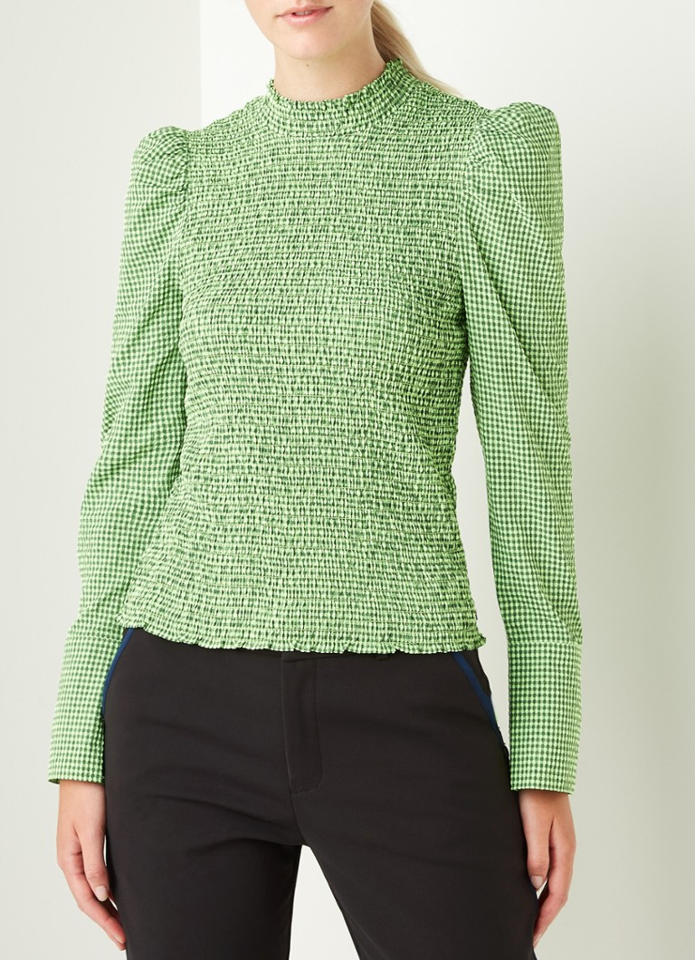 Scotch & Soda - Top met ruitdessin en pofmouw - Neongroen