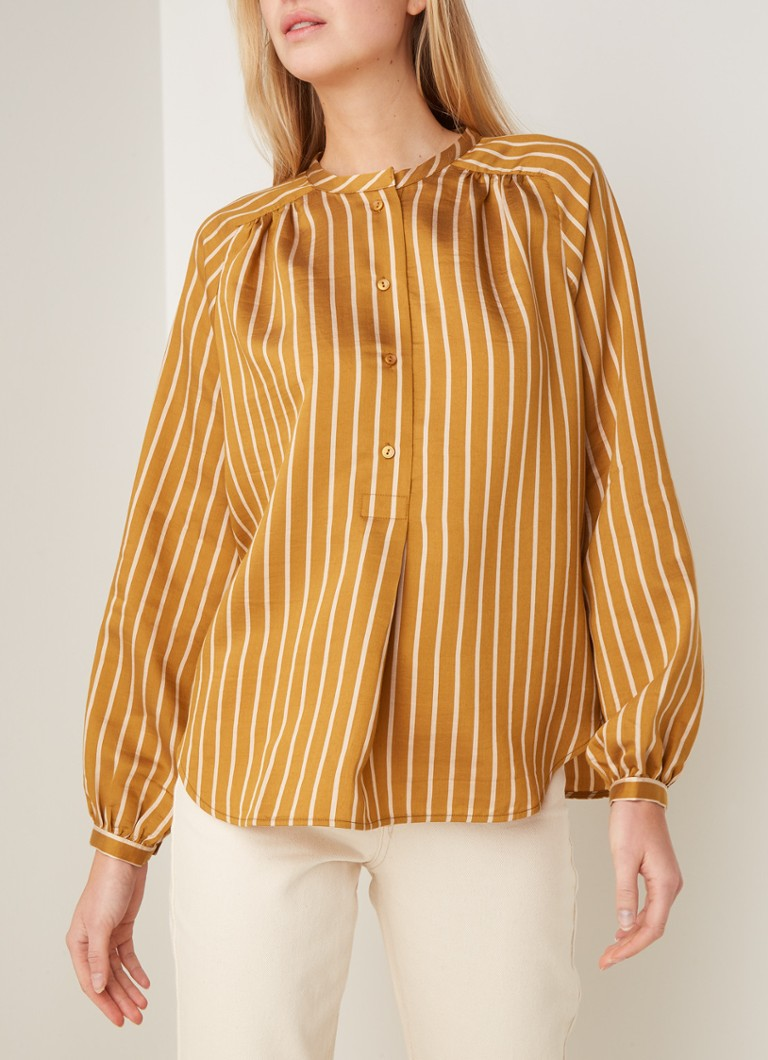 Second Female - Diana blouse met streeppatroon - Camel