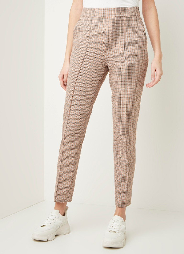 Second Female - Lena slim fit cropped pantalon met ruitdessin  - Beige