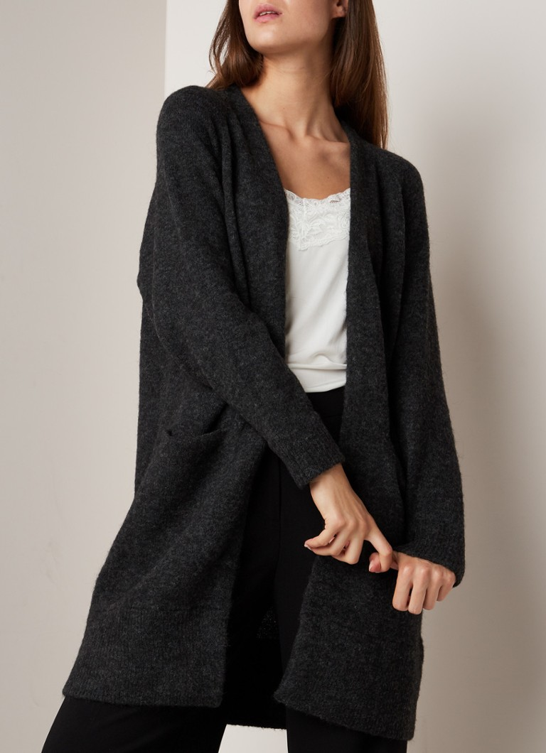 Selected Femme - Lanna openvallend vest in alpaca wolblend - Antraciet