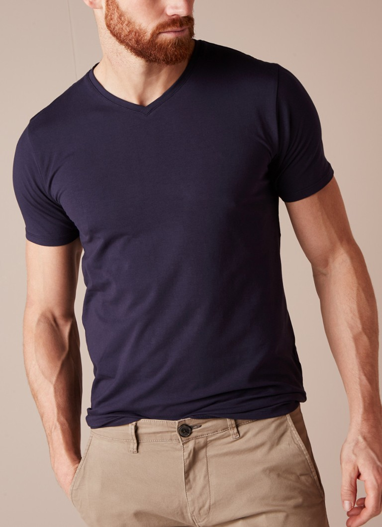 Selected Homme - Basic T-shirt met V-hals - Donkerblauw