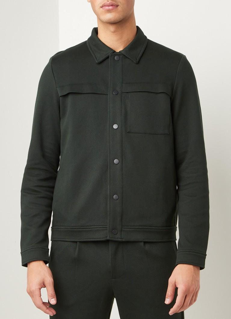 Selected Homme - Fred regular fit overshirt met steekzakken - Donkergroen