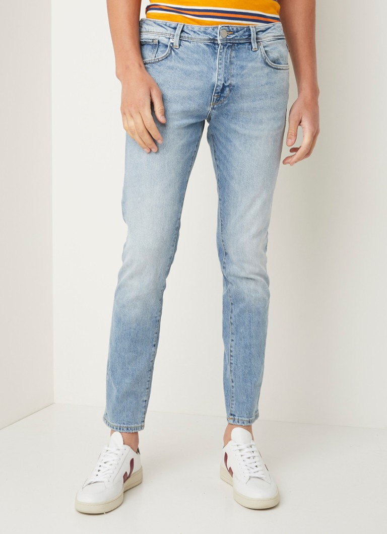 Selected Homme - Leon slim fit jeans met lichte wassing  - Lichtblauw
