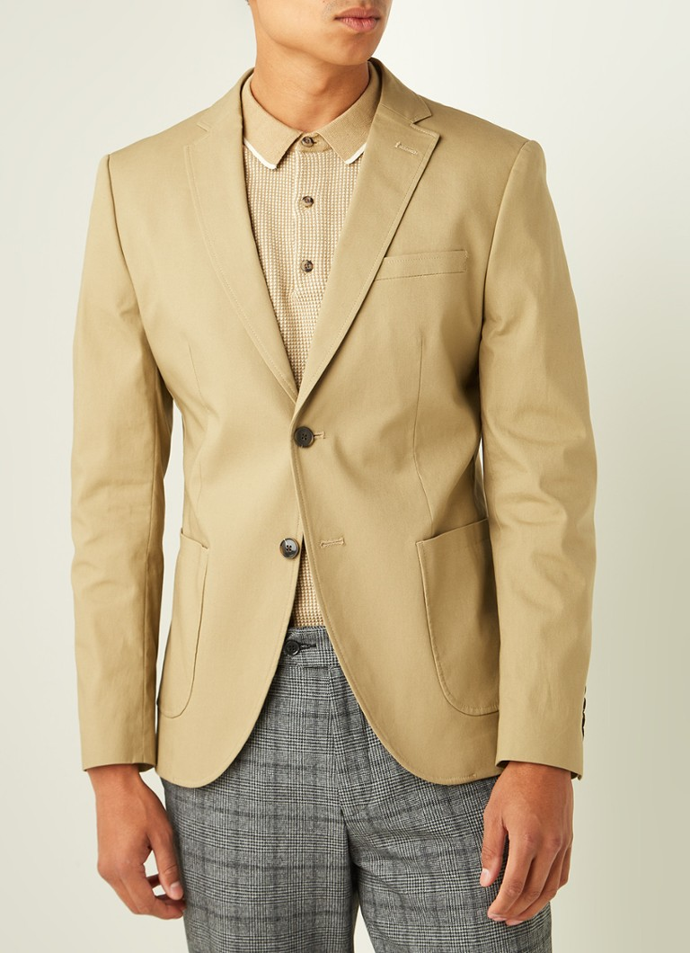 Selected Homme - Trey slim fit colbert met opgestikte zakken - Khaki