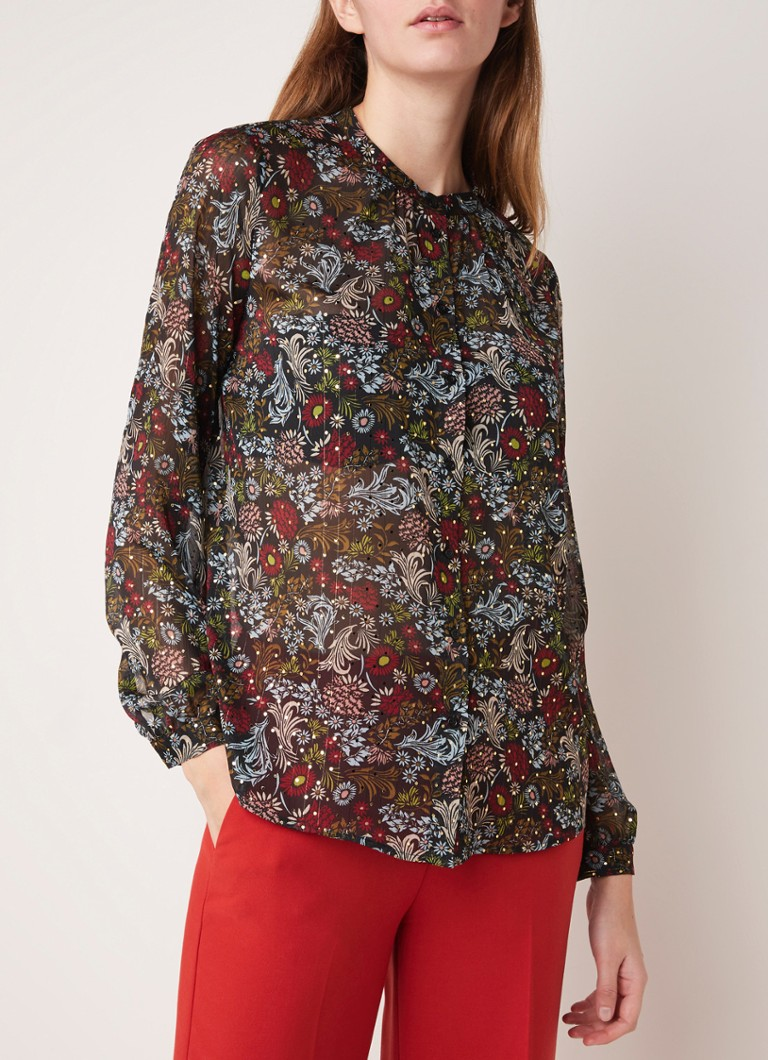 Set - Semi-transparante blouse met bloemenprint - Zwart