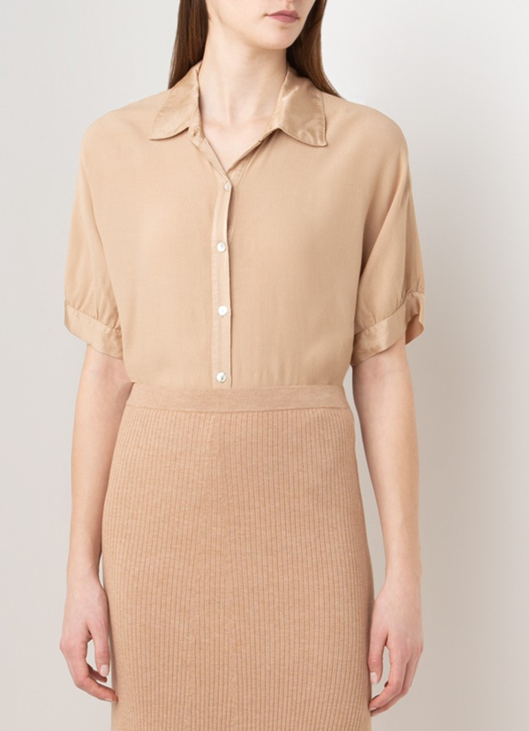 Simple - Lies blouse van crêpe - Zand