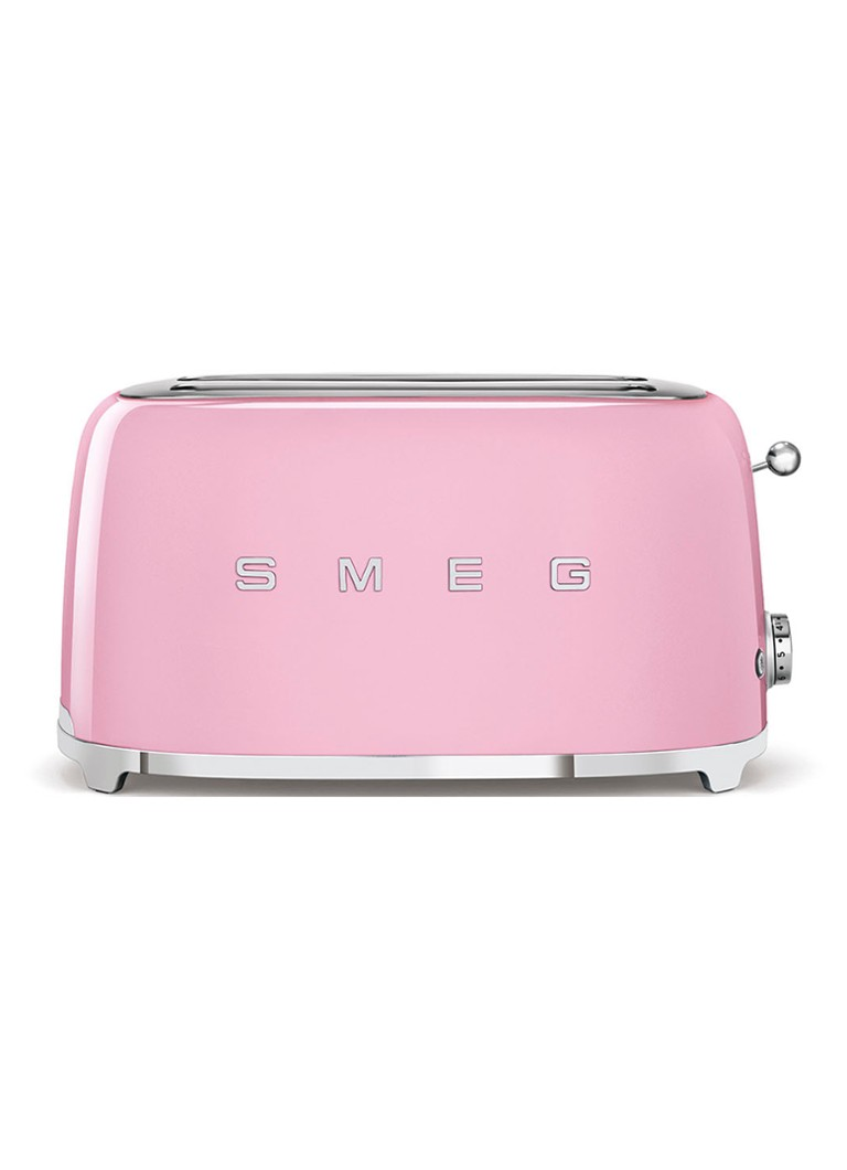Smeg - 50's Style broodrooster 2-slots extra lang TSF02PKEU - roze - Wit