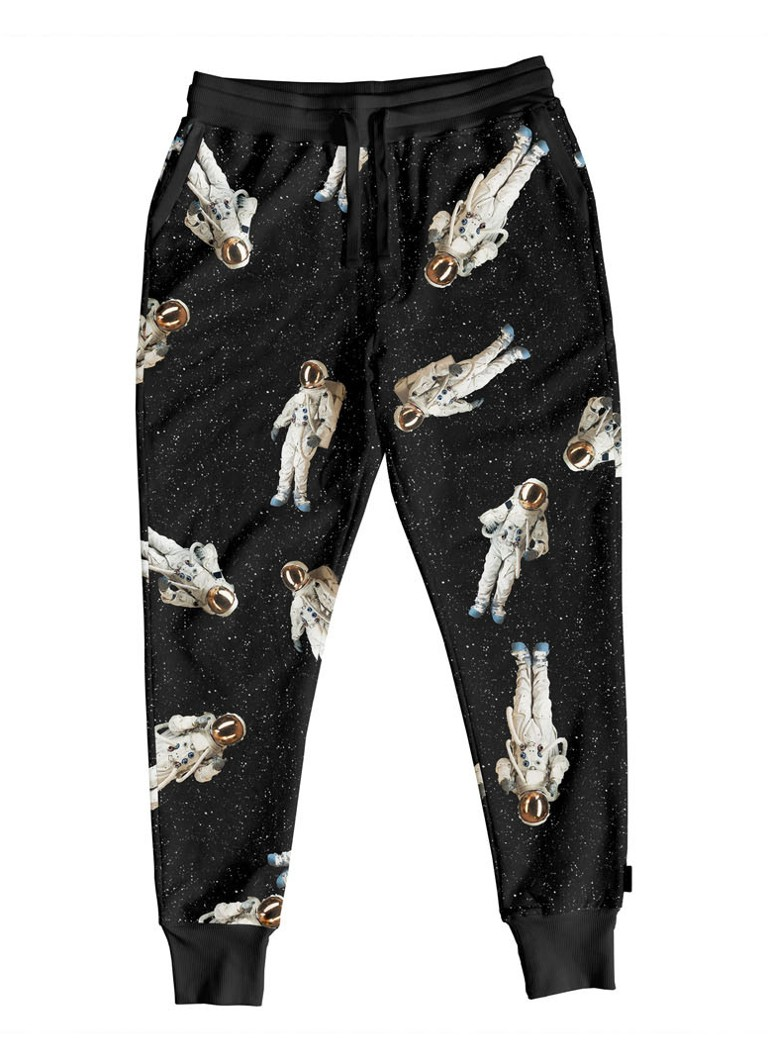 Snurk - Astronauts tapered fit loungebroek met print - Zwart