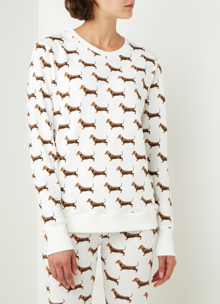 Snurk - James sweater met dierenprint - Gebroken wit