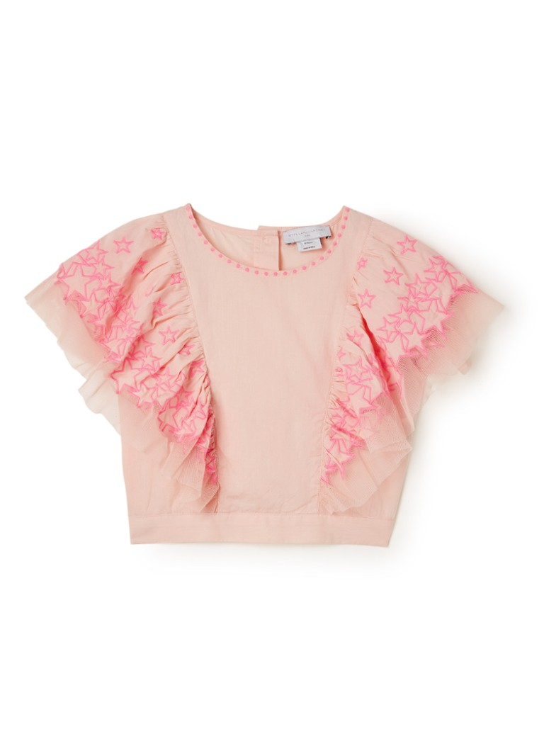 Stella McCartney Kids - Cropped top met borduring en ruches - Lichtroze