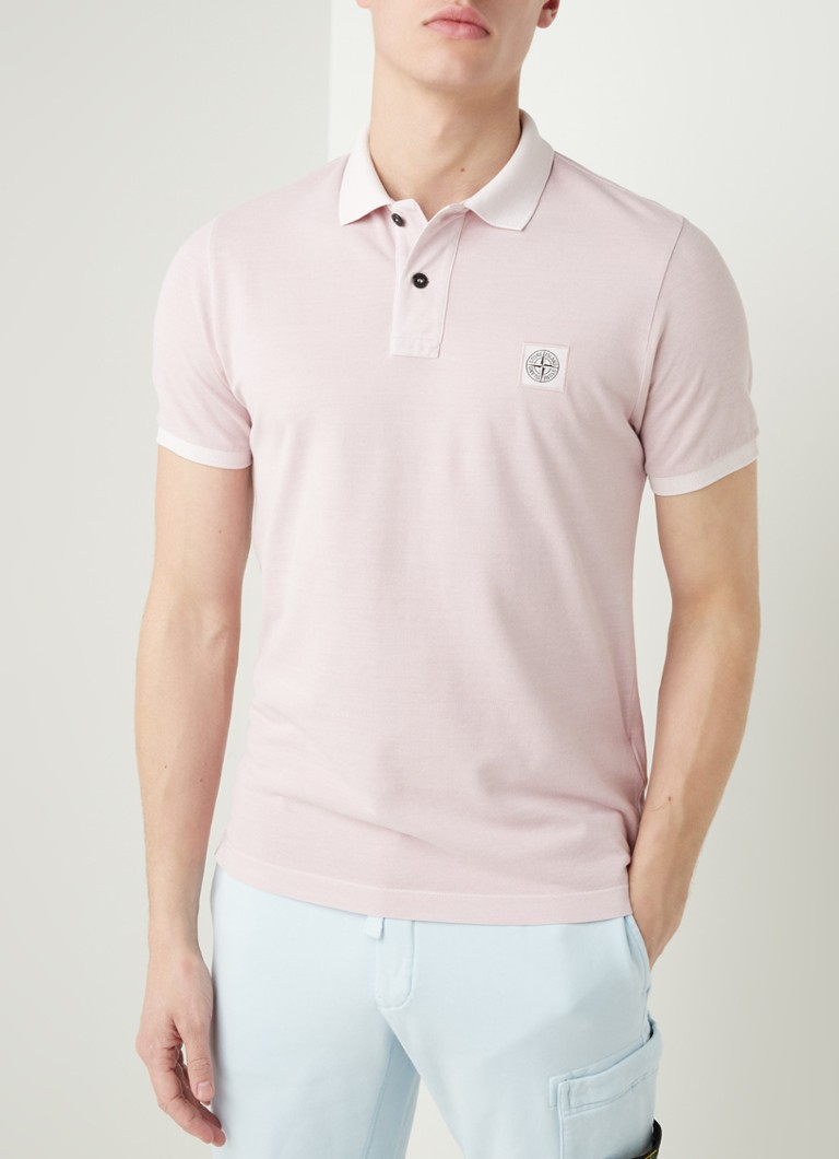 Stone Island - 22S67 Slim fit polo met logo - Oudroze