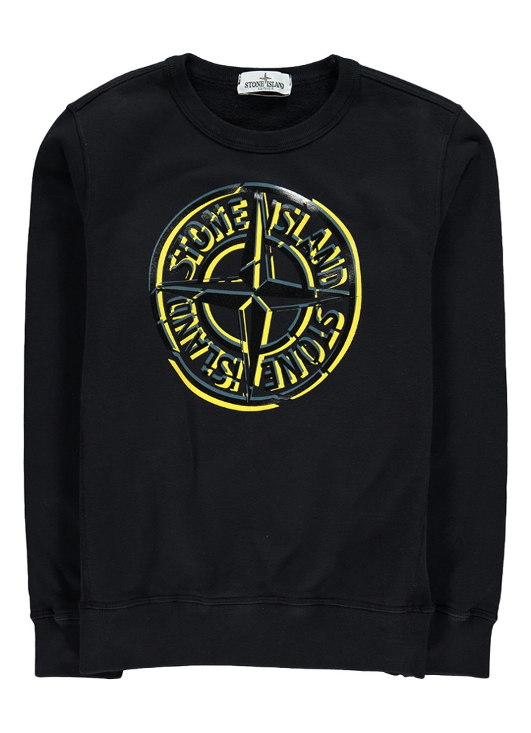 stone island sweater met ronde hals en logoprint de bijenkorf. Black Bedroom Furniture Sets. Home Design Ideas