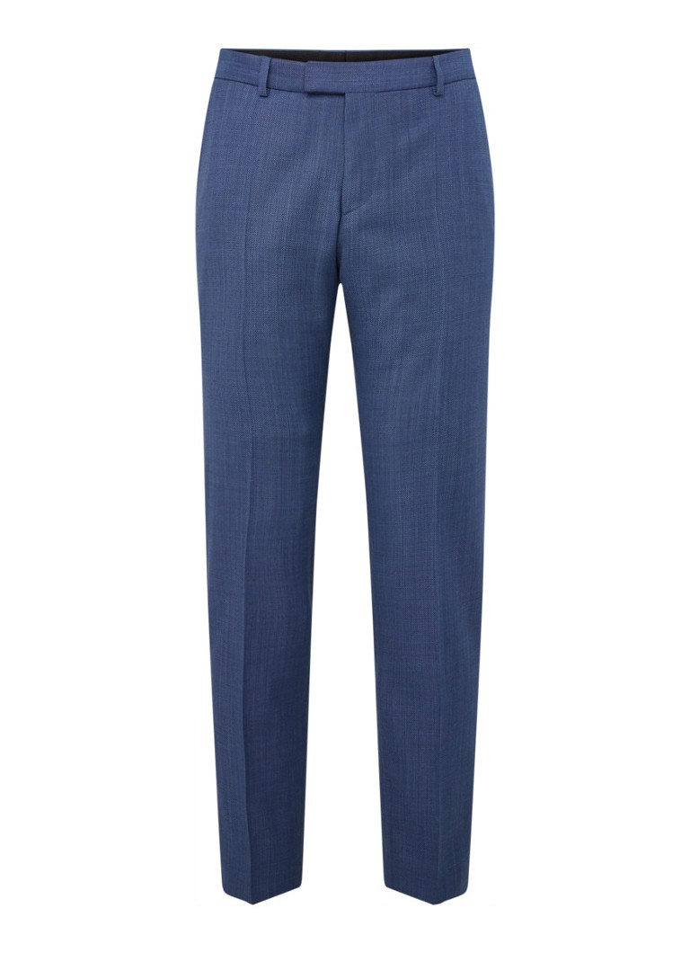 Strellson - Mercer slim fit pantalon in wolblend  - Blauw
