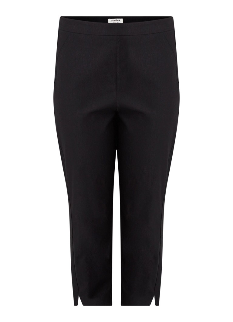 Studio 8 - Louise high waist straight fit driekwart pantalon in katoenblend - Zwart