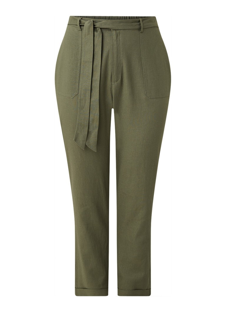 Studio 8 - Tessa straight fit high waist pantalon in linnenblend - Khaki