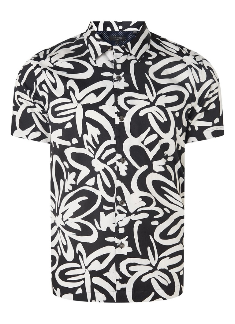 Ted Baker - Ballor regular fit overhemd met abstracte bloemenprint - Zwart