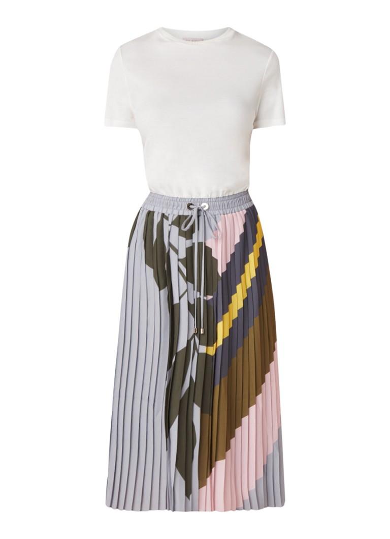 Ongebruikt Ted Baker Izabelle T-shirt jurk met plissè rok en print • Wit • de AY-04