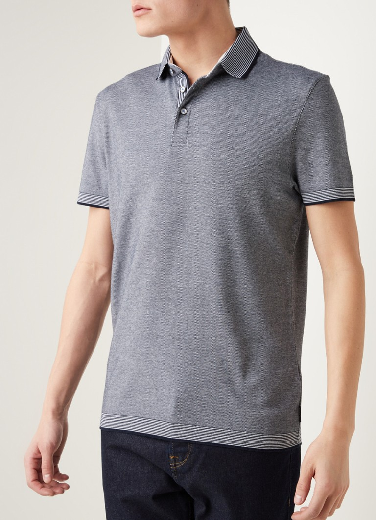 Ted Baker - Lateone regular fit polo met microstructuur - Middenblauw