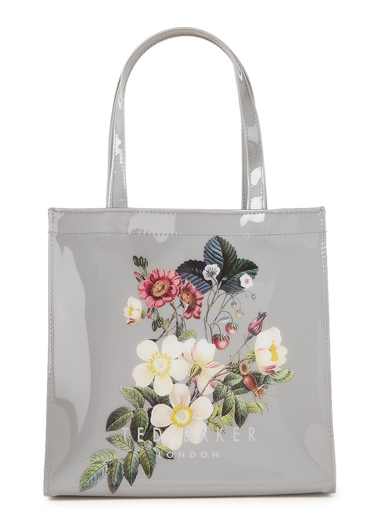 Ted Baker - Oracle Small Icon shopper met bloemendessin  - Lichtgrijs