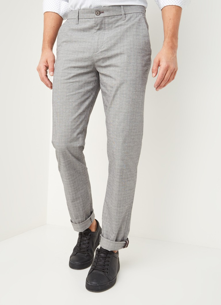 Ted Baker - Sappy slim fit chino met ruitdessin - Grijs