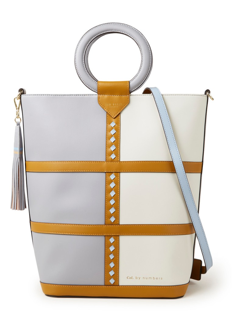 Ted Baker - Spiritz shopper van leer met colour blocking - Grijs