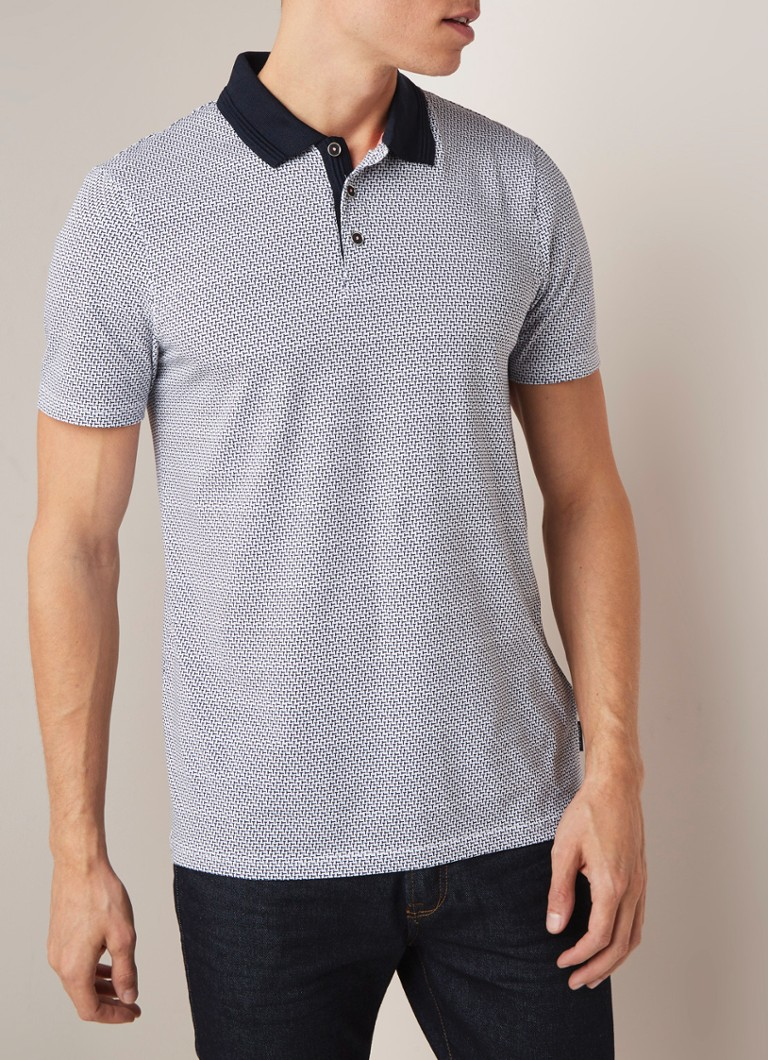 Ted Baker - Tranopo regular fit polo met dessin - Donkerblauw