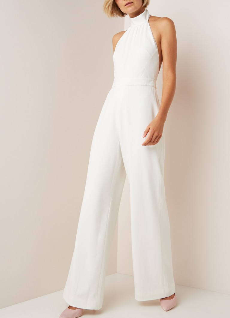 Ted Baker - Wide fit jumpsuit met halter - Gebroken wit